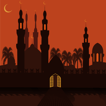 mohammad: Golden Gate in the eastern city. The city walls and the mosque. holiday symbol. Vector illustration