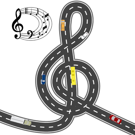 humorous: Musical automotive equipment. To the music of the way shorter. Humorous image. Vector illustration