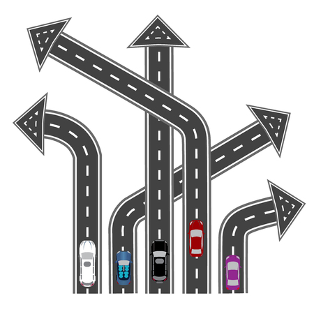 different directions: The roads in different directions. Destinations in the form of arrows. Abstract image. Vector illustration Illustration