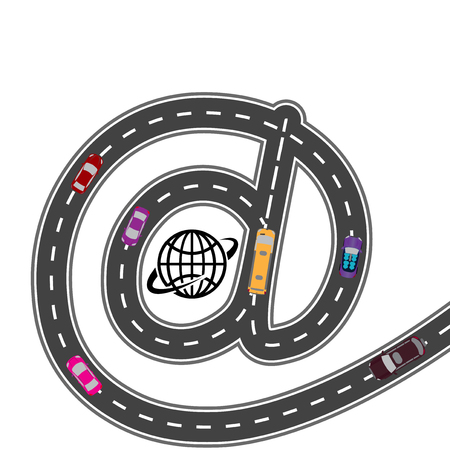 humorous: Automotive equipment. With the Internet navigator - the path is shorter. Humorous, picture. Vector illustration Illustration