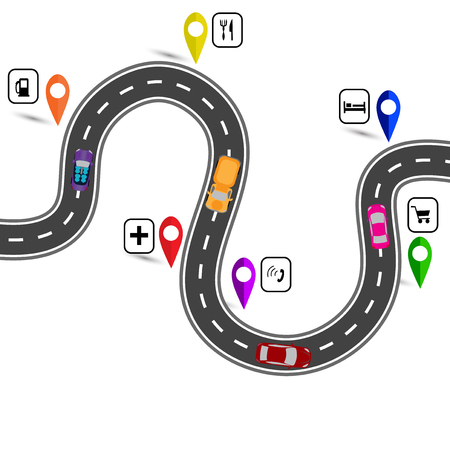 Winding road with signs. The path indicated by the navigator. Vector illustration