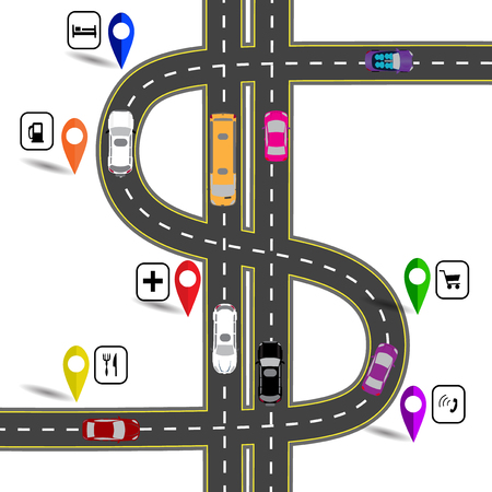 humorous: Winding road with signs. The path specifies the navigator. Humorous image. Vector illustration