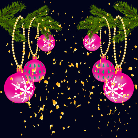 lush: Green lush branch of spruce, with two sides decorated with gold confetti. Spruce branches with red balls. Isolated on a dark blue background. Vector illustration