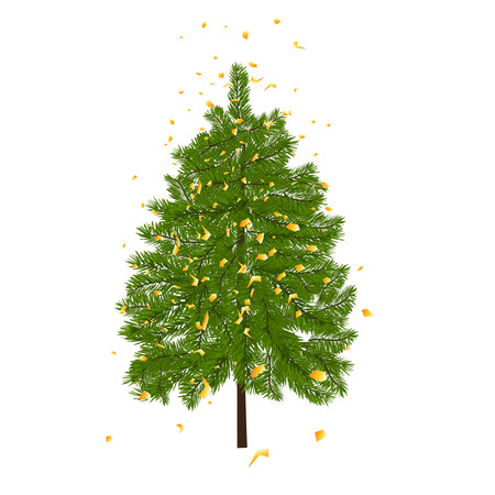 lush: Green lush fir, decorated with gold confetti. Fir branches. Isolated on white vector illustration Illustration