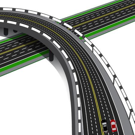 interchange: Car overpass crosses the highway. Road interchange. Vector illustration Illustration