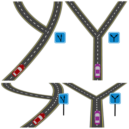 fork in road: Various fork in the road. Top view and in perspective. Vector illustration