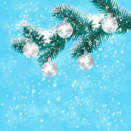 Christmas, New Years card. Silver balls on a branch blue Christmas tree. Background of falling snow. Vector illustration