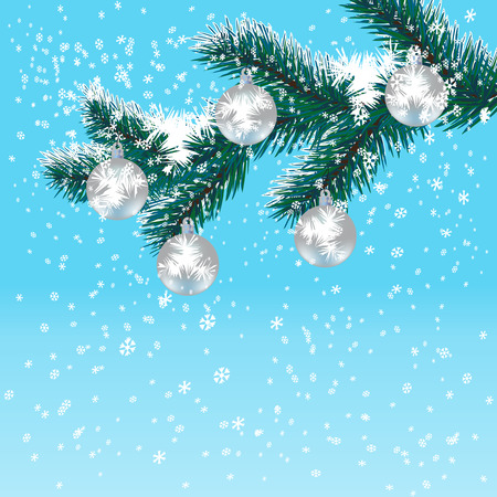 a sprig: Christmas, New Years card. Silver balls on Christmas tree branch. Gradient blue background. Falling snow. Vector illustration Illustration