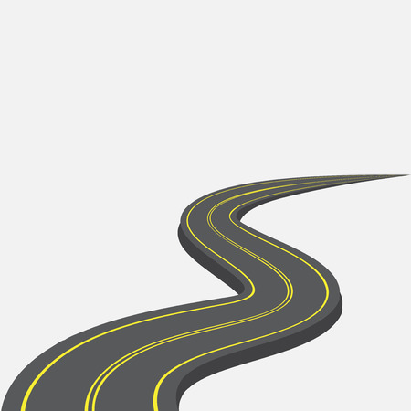 street sign: Road with yellow markings receding into the distance. 3d. Vector illustration