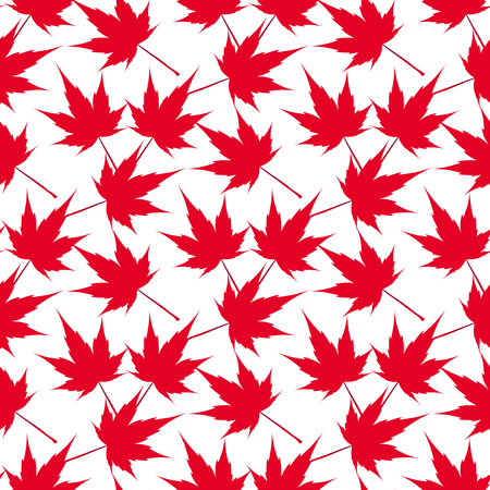 japanese maple: Red maple leaves. Seamless pattern. Canada. Japanese symbolism Vector illustration
