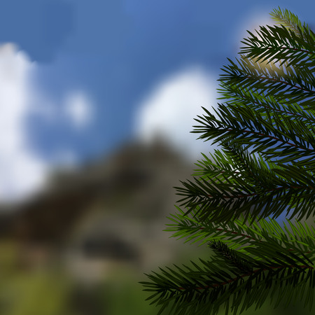 Realistic green spruce. Beautiful, natural background. Fir tree - a symbol of Christmas and New Year. Vector illustration