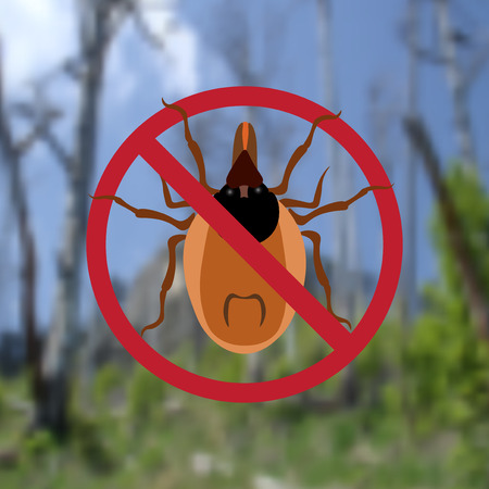 parasite: Warning Symbol parasite sign. Spider mites. Red mite. Epidemic. Mite parasites. Background from green forest. Vector illustration