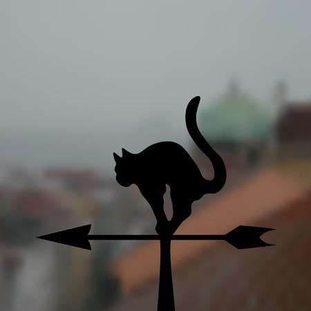 weathervane: Weathervane - Black cat on a realistic background. Vector illustration