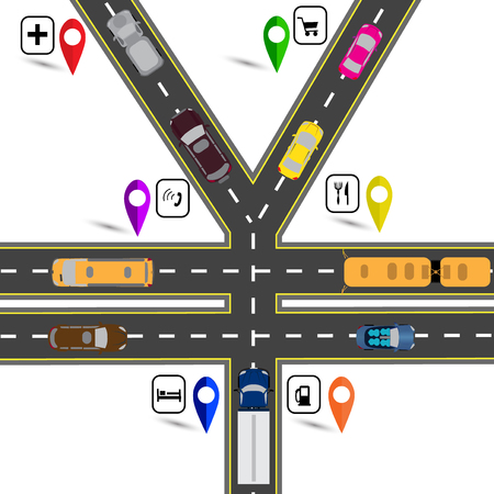humorous: Road junction, a sign resembling the yen, the yuan. Way to the navigator. Humorous image. Vector illustration Illustration