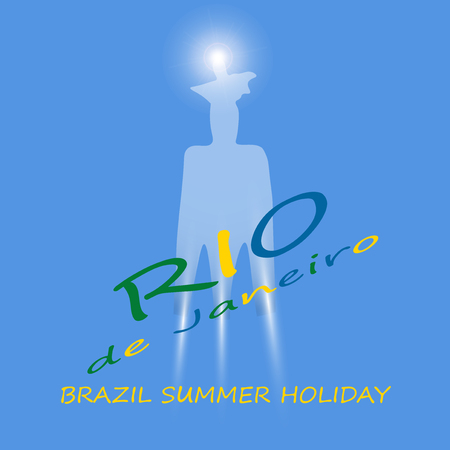caption: The Holiday in Rio de Janeiro. Stylized Statue. Caption Rio in the colors of the Brazilian flag. Vector illustration.