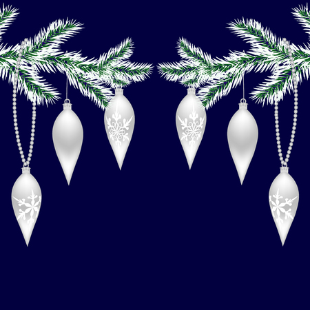 felicitation: Two silvered with frost tree branches with toys for the New Year. Christmas Spruce branches. Isolated on a blue background. Christmas vector illustration Illustration