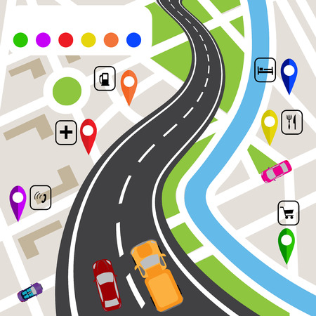 specifies: Road infographics. Winding road with markers on the map terrain. The path specifies the navigator. Vector illustrations