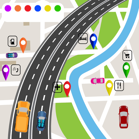 specifies: Road infographics. Slight bend in the road with markers on the map terrain. The path specifies the navigator. Vector illustrations