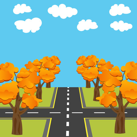 Crossroads equivalent of roads in the future. Alley Autumn oaks. Vector illustration