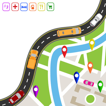 specifies: Road infographics. Winding road with markers on the map terrain. The path specifies the navigator. Displaying traffic car vector illustration
