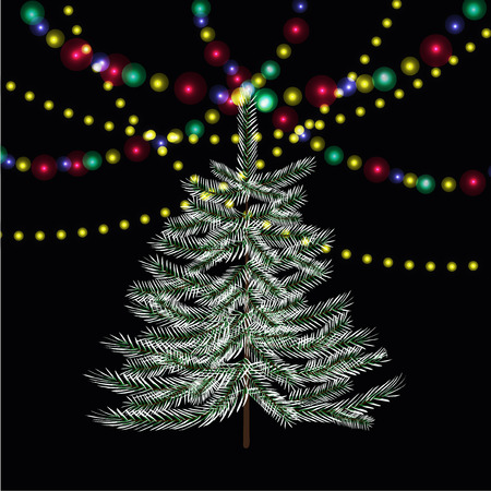 Christmas, New Year firtree. Bright festive lights. Vector illustration
