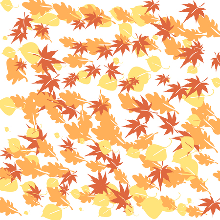closer: Autumn leaves flying in the wind over white background  Illustration Stock Photo