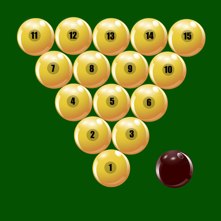 cue ball: Set of balls to play Russian billiards.  illustration