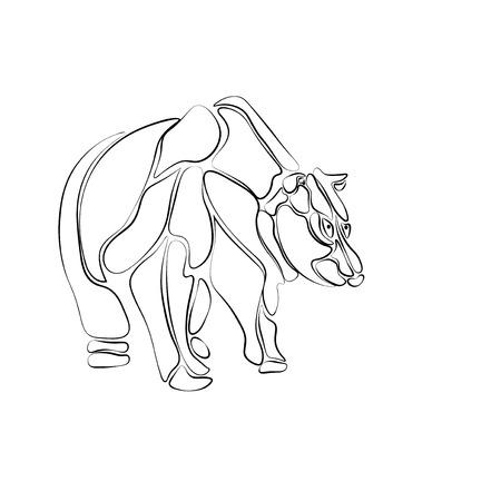 agressive: Black and white, stylized bear of isolated segments, tattoo.  illustration Stock Photo