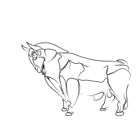 Stylized, isolated black contour of the bull on a white background, tattoo,  illustration: