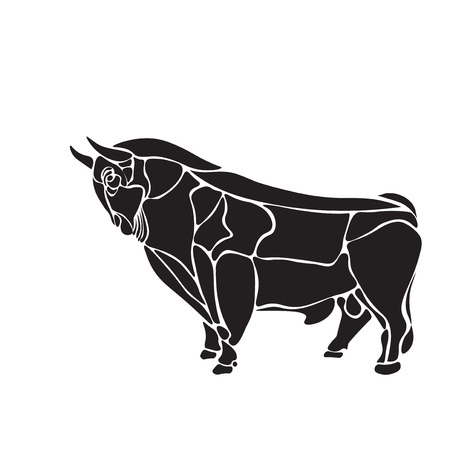 black and white engrave isolated  bull Stock Photo