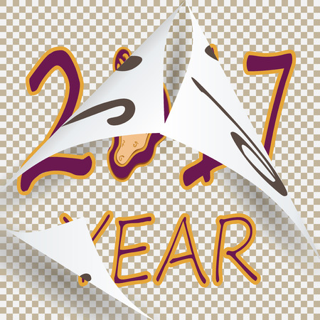 replaced: In vintage style lettering 2017 replaced the previous 2016.  illustration