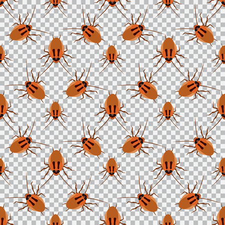 antennae: Seamless pattern cockroach on a checkered background. Cockroach, beetle,  illustration