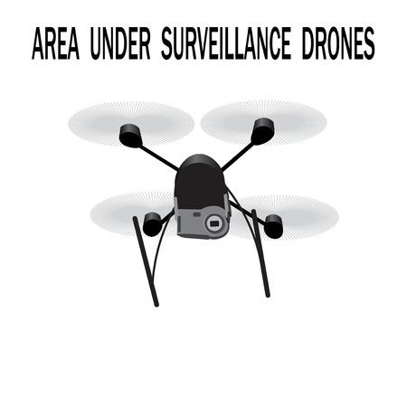 under surveillance: Image drone. Caption area under surveillance drones.  illustration