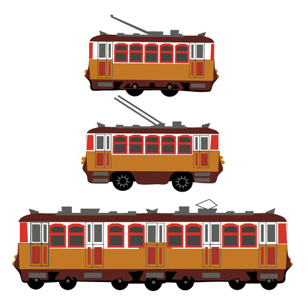 electric train: Vintage tram, electric train, trolleybus. Retro. Detail view of the side of the electric transport. Tourist tram. Yellow tram, trolleybus, train.  illustration