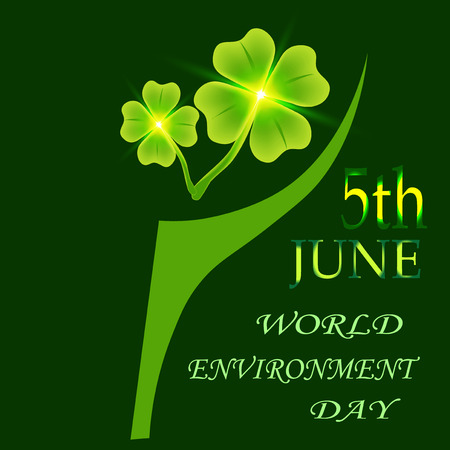 Four leaf clover on a plaid background.  illustration on a plaid background. 5th June World Environment Day. St. Patricks day symbol Stock Photo