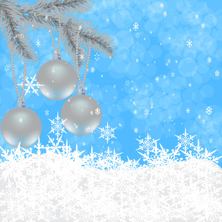 felicitation: Christmas, New Years card. Toys on the Christmas tree. Background of falling snow.  illustration