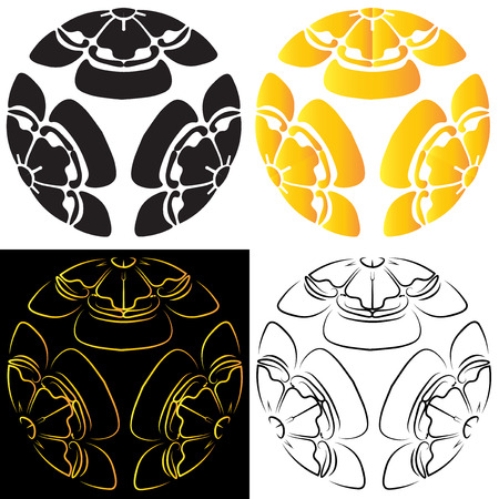 japanes: Set melon colors consisting of black and gold stylized image of a white and black background, tattoo, a symbol of survival in Japan.  illustration