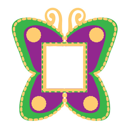 photo frame in the shape of butterflies  illustration
