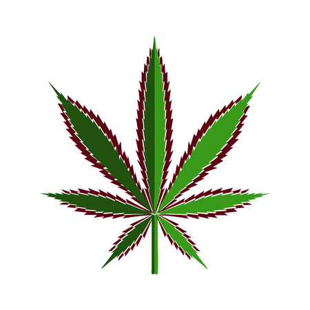 Green cannabis leaf cut out of paper, stylized  illustration