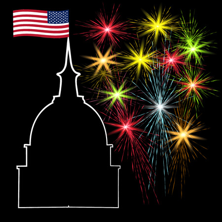 American Independence Day, holiday on the background of fireworks, US symbols,  illustration Stock Photo
