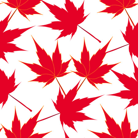 Red Maple Leaves Seamless Pattern Japanese Symbolism Illustration