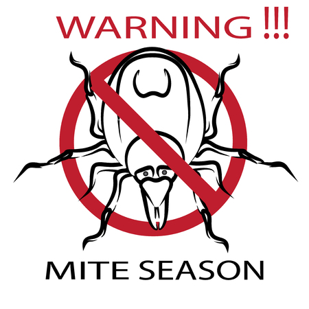 Symbol parasite warning sign. Ticks be careful. Ticks season. Mite spider. Mite red. Mite allergy. Epidemic. Mite parasites.  illustration