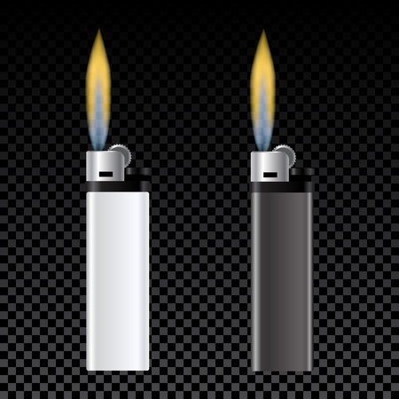 gas lighter: Template for advertising and corporate identity. White and black lighter. Burning fire. Vector illustration