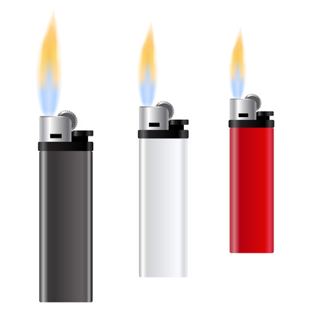 Template for advertising and corporate identity. White, red and black lighter on white background. Burning fire. Vector illustration