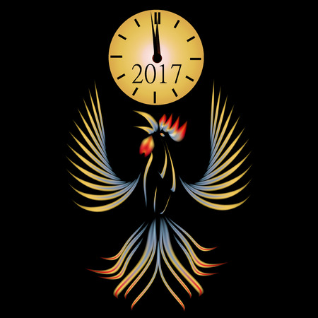 mythical phoenix bird: Abstract illustration of a rooster on a black background. 2017 fiery red rooster. Clock. Vector illustration