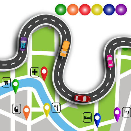 specifies: Road infographics. Winding road with 3d signs. The path specifies the location on the map navigator. Vector illustration