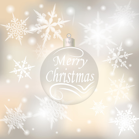 festive background: Christmas, New Year festive background for greeting cards. Silver ball with a wish of Merry Christmas.  illustrations Stock Photo