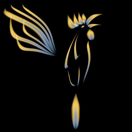 mythical phoenix bird: Abstract illustration of a fiery cock on a black background. 2017 red rooster.  illustration