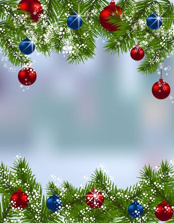 carta di soggiorno. rami di abete verde con palline rosse e blu e il vero sfondo. Su e giù. Decorazioni natalizie. illustrazione