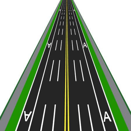 Direct road highway with markup. Dedicated lanes for public transport.  illustration